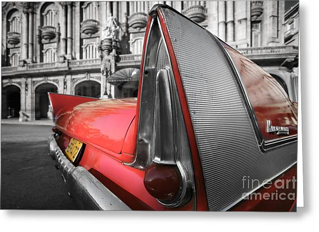 Havana Greeting Cards - Tail Fin - Havana - Cuba Greeting Card by Rod McLean