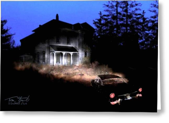 Haunted House Digital Art Greeting Cards - Tail Lights Greeting Card by Tom Straub