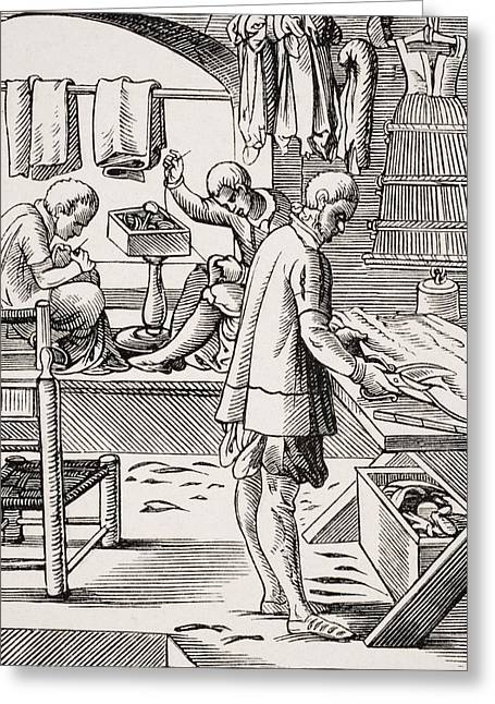 Scissors Drawings Greeting Cards - Tailor. 19th Century Reproduction Of Greeting Card by Ken Welsh