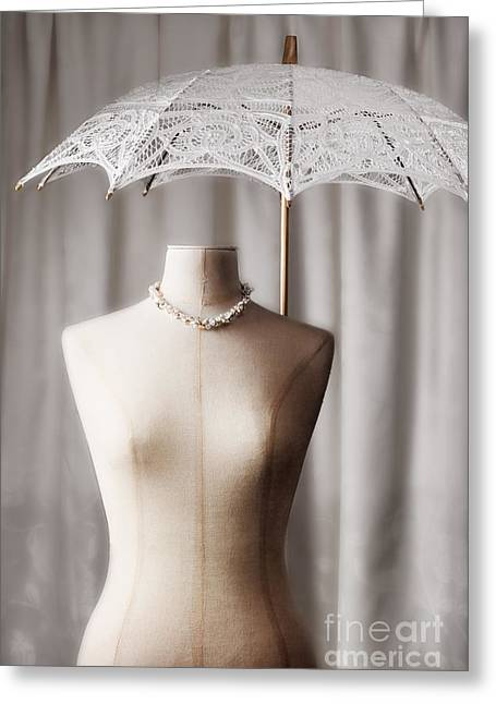 Tailor Greeting Cards - Tailors Dummy With Parasol Greeting Card by Amanda And Christopher Elwell