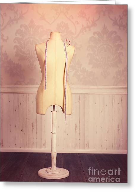 Tailors Dummy With Tape Measure Greeting Card by Amanda Elwell