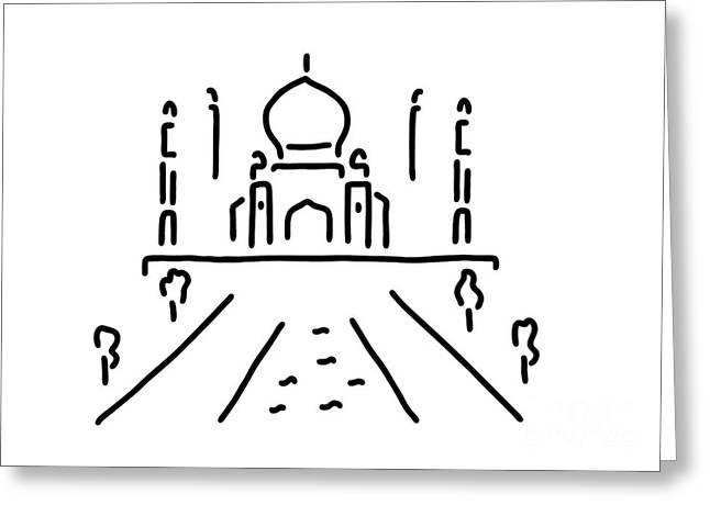 India Greeting Cards - taj mahal India agra Greeting Card by Lineamentum