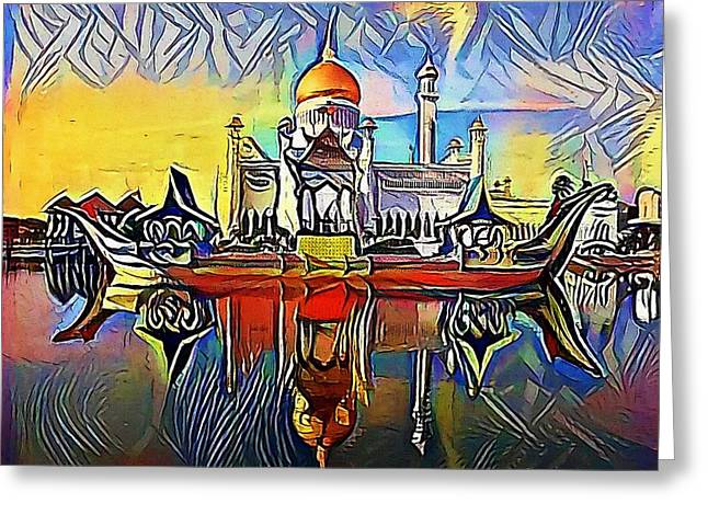 Taj Mahal India Seven Wonders Travel Destination Concept - My Www Vikinek-art.com Greeting Card by Viktor Lebeda