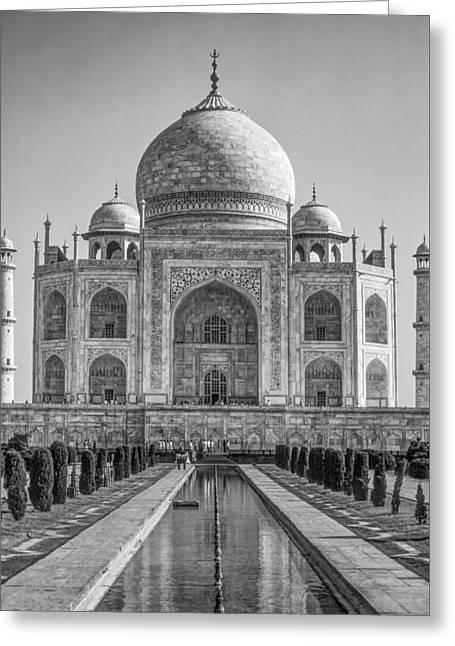 World Wonder Greeting Cards - Taj Mahal monochrome Greeting Card by Steve Harrington
