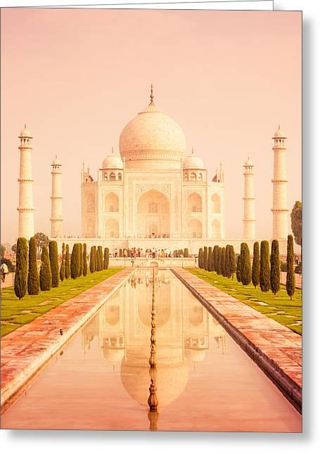 Warm Tones Greeting Cards - Taj Mahal Reflecting Pool Greeting Card by Nila Newsom