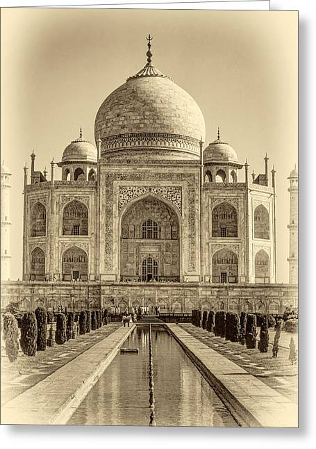 World Wonder Greeting Cards - Taj Mahal sepia Greeting Card by Steve Harrington