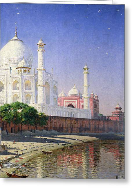 Mausoleum Greeting Cards - Taj Mahal Greeting Card by Vasili Vasilievich Vereshchagin
