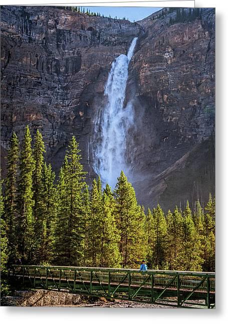 Takakkaw Falls And Yoho River Greeting Card by Joan Carroll