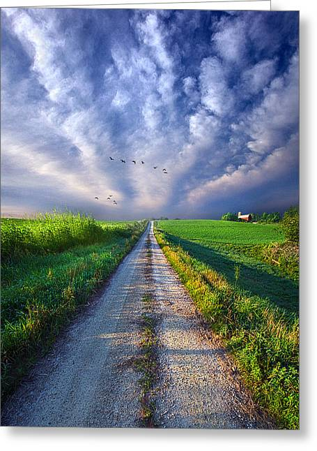 Red Dirt Greeting Cards - Take a Right at the Barn Greeting Card by Phil Koch