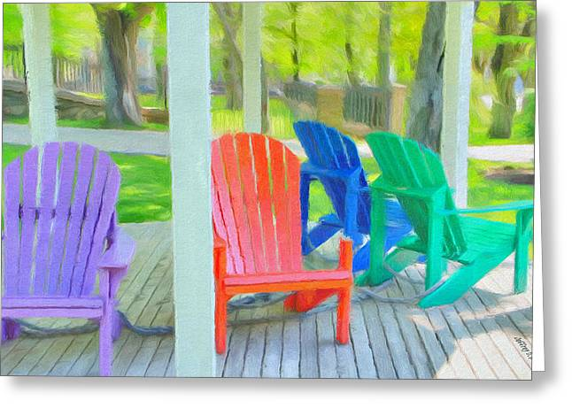 Wooden Greeting Cards - Take a Seat but Dont Take a Chair Greeting Card by Jeff Kolker