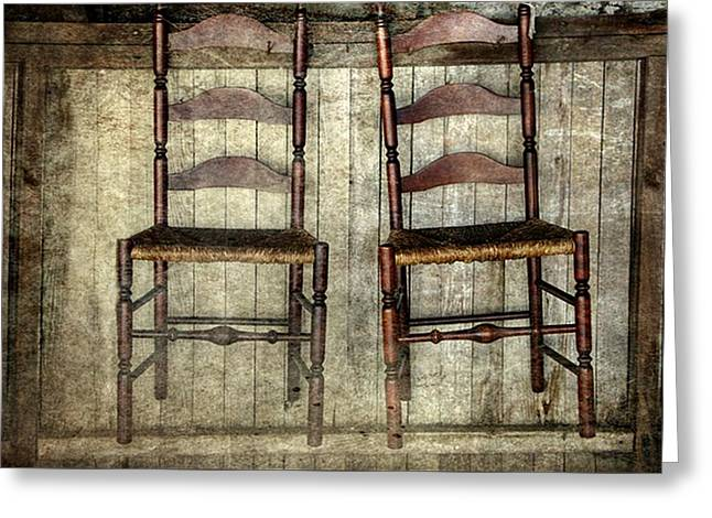 Ladder Back Chairs Greeting Cards - Take A Seat Greeting Card by Stephanie Calhoun