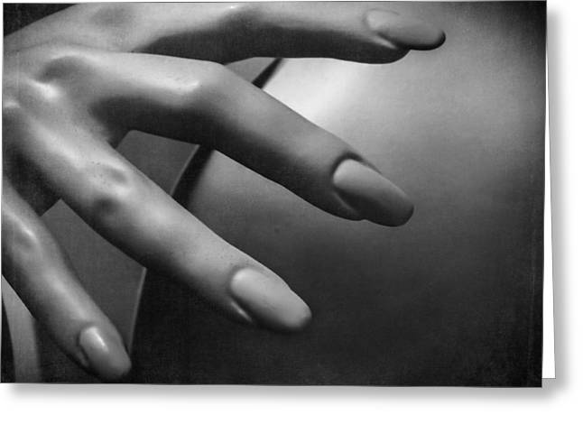 Female Body Greeting Cards - Take My Hand, Mannequin Still Life Black and White Greeting Card by Melissa Bittinger