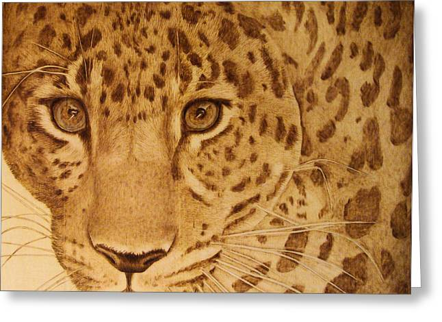 Jaguars Pyrography Greeting Cards - Take One Step Closer Greeting Card by Jo Schwartz