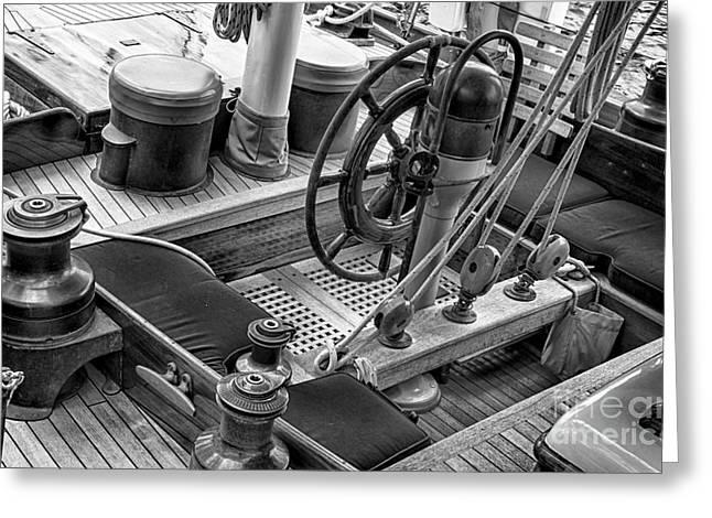 Sailboat Photos Greeting Cards - Take The Wheel Greeting Card by Joe Geraci