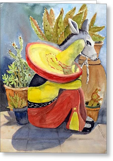 Garden Statuary Greeting Cards - Taking A Siesta Greeting Card by Anna Jacke