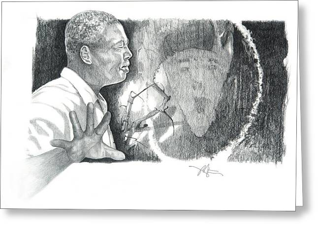 African American Drawings Greeting Cards - Taking A Stand Greeting Card by Bob Salo
