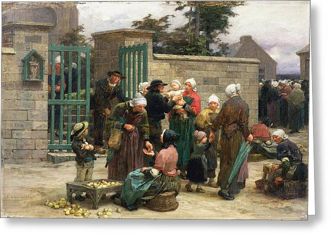Charity Paintings Greeting Cards - Taking in Foundlings Greeting Card by Leon Augustin Lhermitte