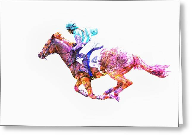 Race Horse Greeting Cards - Taking the Lead Greeting Card by Larry Helms