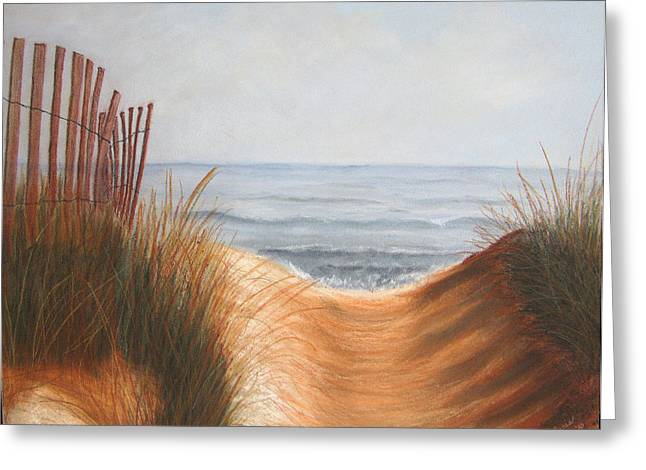 Sand Fences Pastels Greeting Cards - Taking the Path Greeting Card by Maris Sherwood