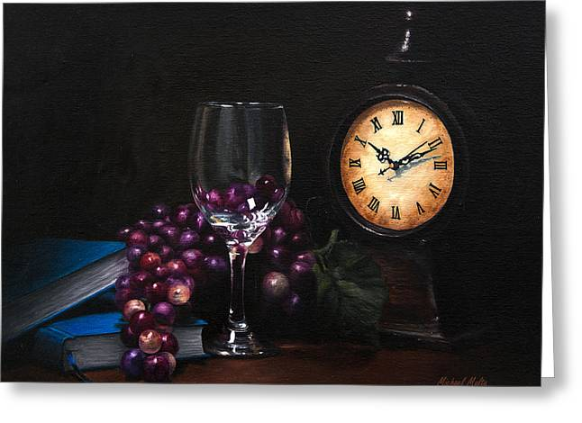 Blue Grapes Greeting Cards - Taking Time Greeting Card by Michael Malta