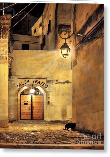 Night Lamp Greeting Cards - Talia Teatro.Matera.Italy Greeting Card by Jennie Breeze
