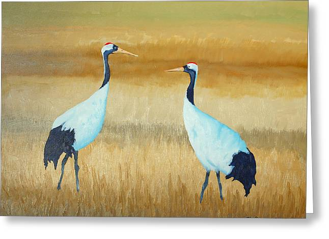 Sandhill Cranes Paintings Greeting Cards - Talk 2 Me Greeting Card by John  Sweeney