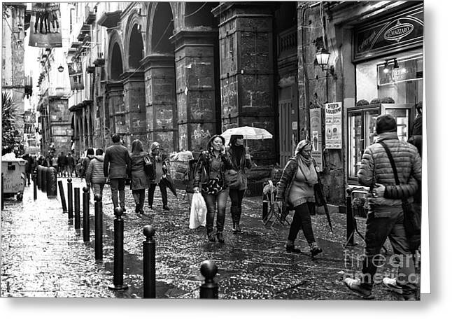 Neapolitan Greeting Cards - Talking and Walking in Naples Greeting Card by John Rizzuto