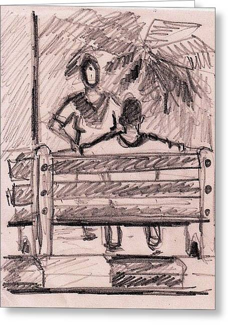 Park Benches Drawings Greeting Cards - Talking In A Park Greeting Card by Vineeth Menon