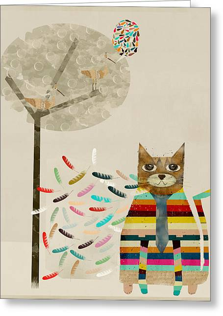 Kitten Prints Digital Greeting Cards - Talking To The Birds Greeting Card by Bri Buckley