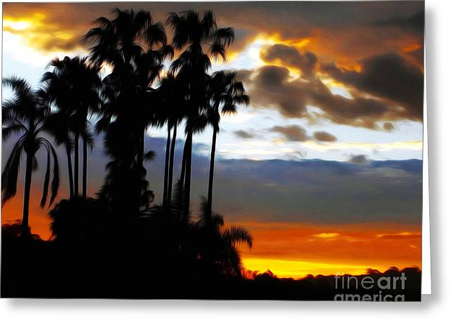 Silhouette Of Tree Greeting Cards - Tall Palms Sunset Silhouette by Kaye Menner Greeting Card by Kaye Menner