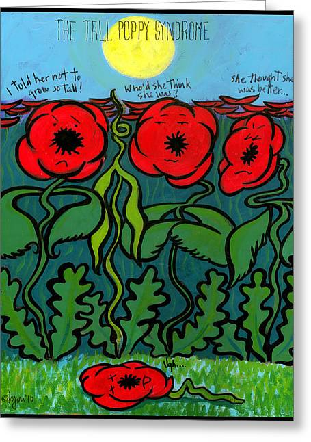 Plastic Drinking Water Bottles Greeting Cards - Tall Poppy Syndrome Greeting Card by Angela Treat Lyon