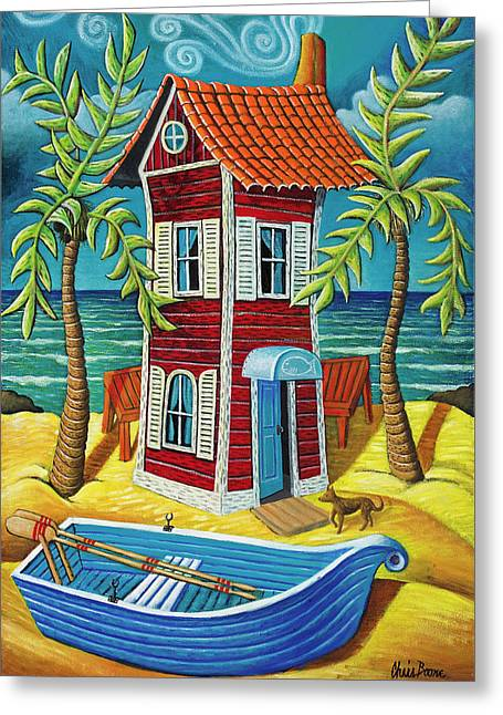 Beach House Pastels Greeting Cards - Tall red house Greeting Card by Chris Boone