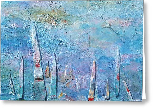Tall Sails Greeting Card by Chaline Ouellet