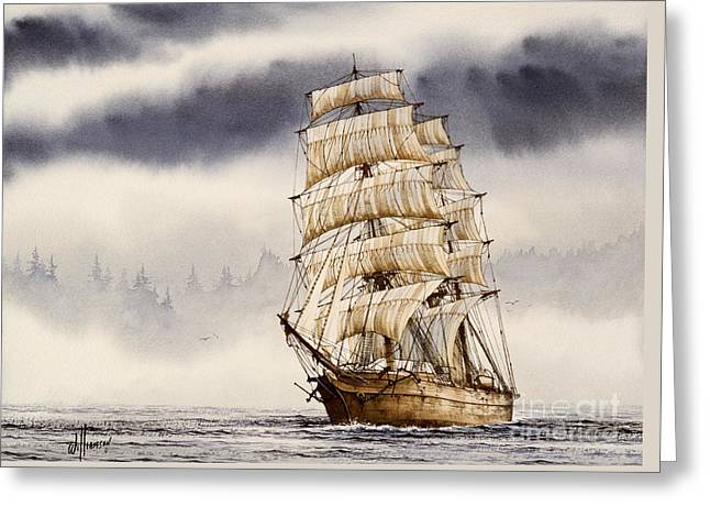 Tall Ship Canvas Greeting Cards - Tall Ship Adventure Greeting Card by James Williamson
