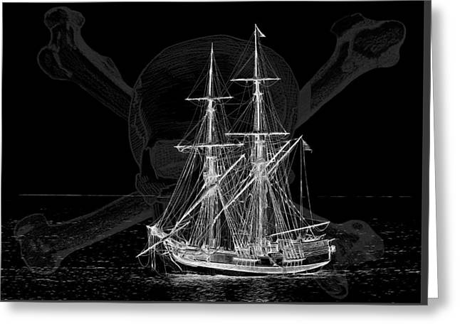 Wooden Ship Greeting Cards - Tall Ship at Night W9020 Greeting Card by Wes and Dotty Weber
