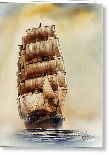 Artist James Williamson Maritime Print Greeting Cards - Tall Ship CARRADALE Greeting Card by James Williamson