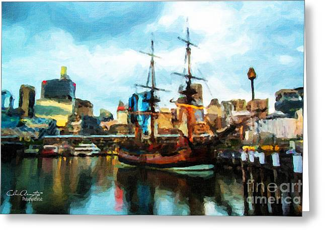Tall Ships Greeting Cards - Tall Ship Darling Harbour Greeting Card by Chris Armytage