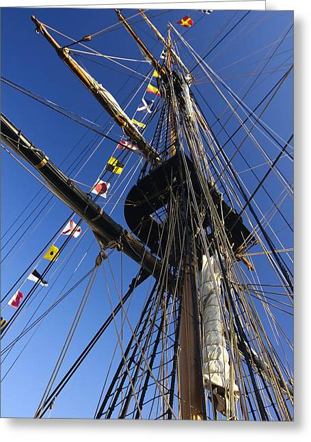 Tall Ships Greeting Cards - Tall ship flags and rigging Greeting Card by Sven Brogren