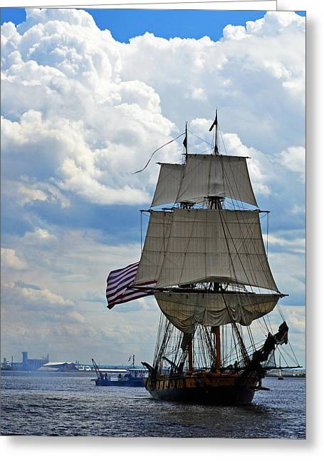 Tall Ships Greeting Cards - Tall ship in Lake Superior Greeting Card by Sydney Thompson