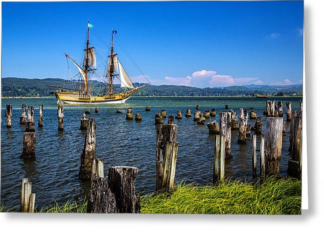 Tall Ships Greeting Cards - Tall Ship Lady Washington Greeting Card by Robert Bynum