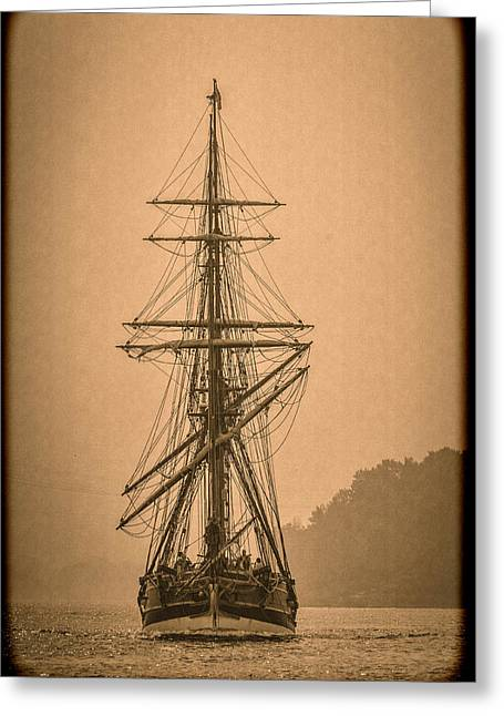 Wooden Ship Greeting Cards - Tall Ship Landing D9892 Greeting Card by Wes and Dotty Weber