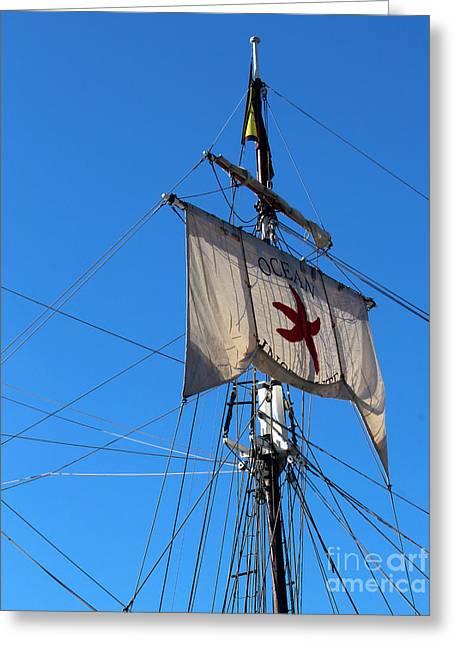 Tall Ships Greeting Cards - Tall Ship Mast Greeting Card by Cheryl Del Toro