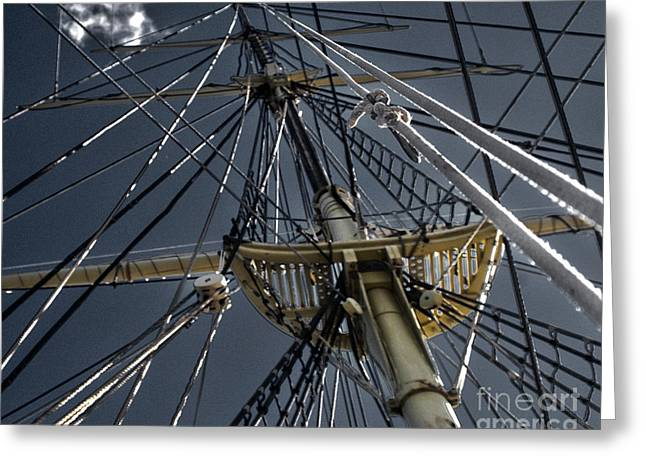 Tall Ship Greeting Cards - Tall Ship Mast Greeting Card by Tom Gari Gallery-Three-Photography