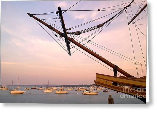 Plymouth Harbor Greeting Cards - Tall Ship Mayflower II in Plymouth Massachusetts Greeting Card by Matt Suess