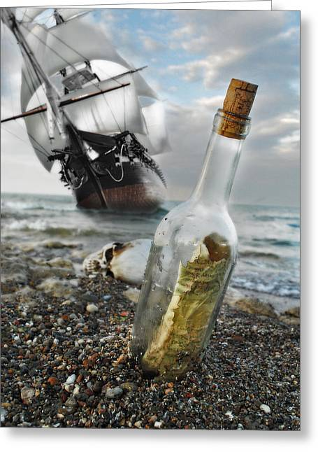 Pirate Ships Greeting Cards - Tall Ship Message in a Bottle Greeting Card by Joseph Halasz