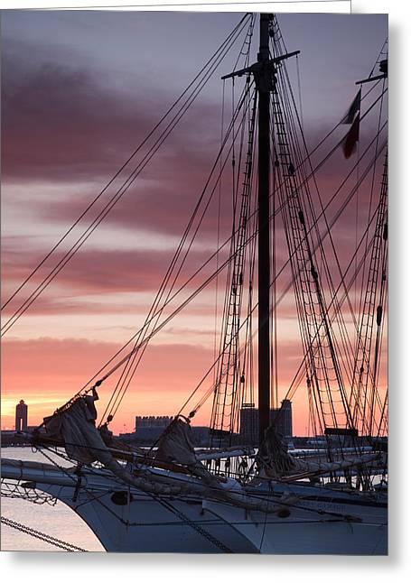 Tall Ships Greeting Cards - Tall Ship Moored At A Harbor, Sail Greeting Card by Panoramic Images