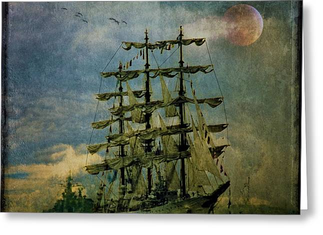 Tall Ships Greeting Cards - Tall Ship New York Harbor 1976 Greeting Card by Chris Lord