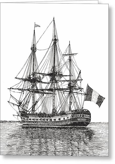 Tall Ships Drawings Greeting Cards - Tall Ship on the York River Greeting Card by Stephany Elsworth