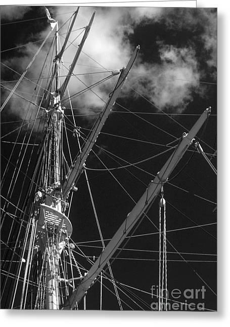 Historic Ship Greeting Cards - Tall Ship Rigging Black and White Greeting Card by Tom Gari Gallery-Three-Photography