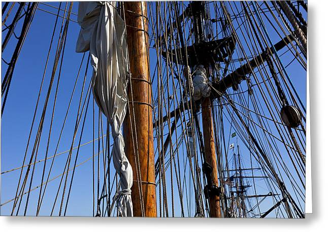 Lady Washington Greeting Cards - Tall ship rigging Lady Washington Greeting Card by Garry Gay